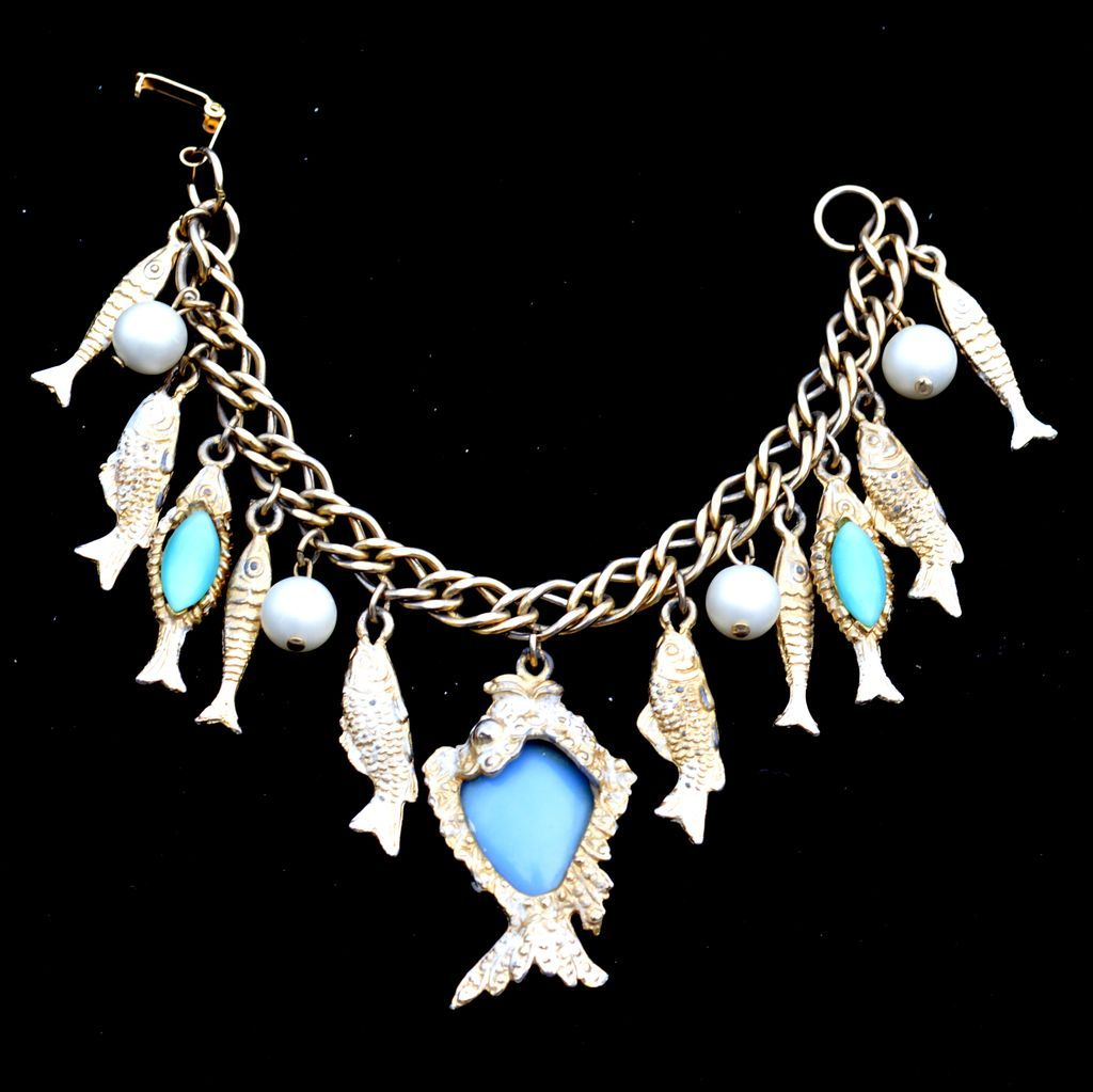 Vintage Dangling Fish Charm Bracelet, Faux Pearls, Blue Glass
