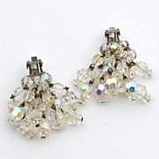 Vintage Dangling Clear Aurora Borealis Crystal Clip Earrings