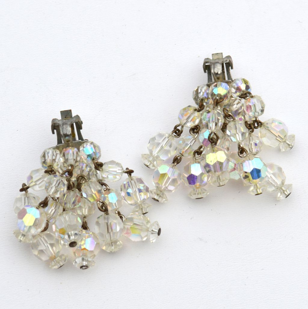 Vintage Dangling Clear Aurora Borealis Crystal Clip Earrings