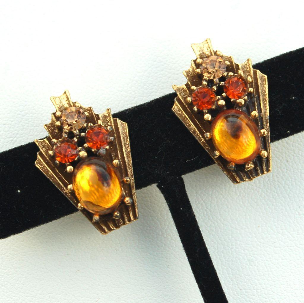 Vintage Signed CORO Amber Colored Glass and Rhinestone Earrings