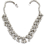Vintage Dangling Clear Rhinestone Flower Cluster Necklace