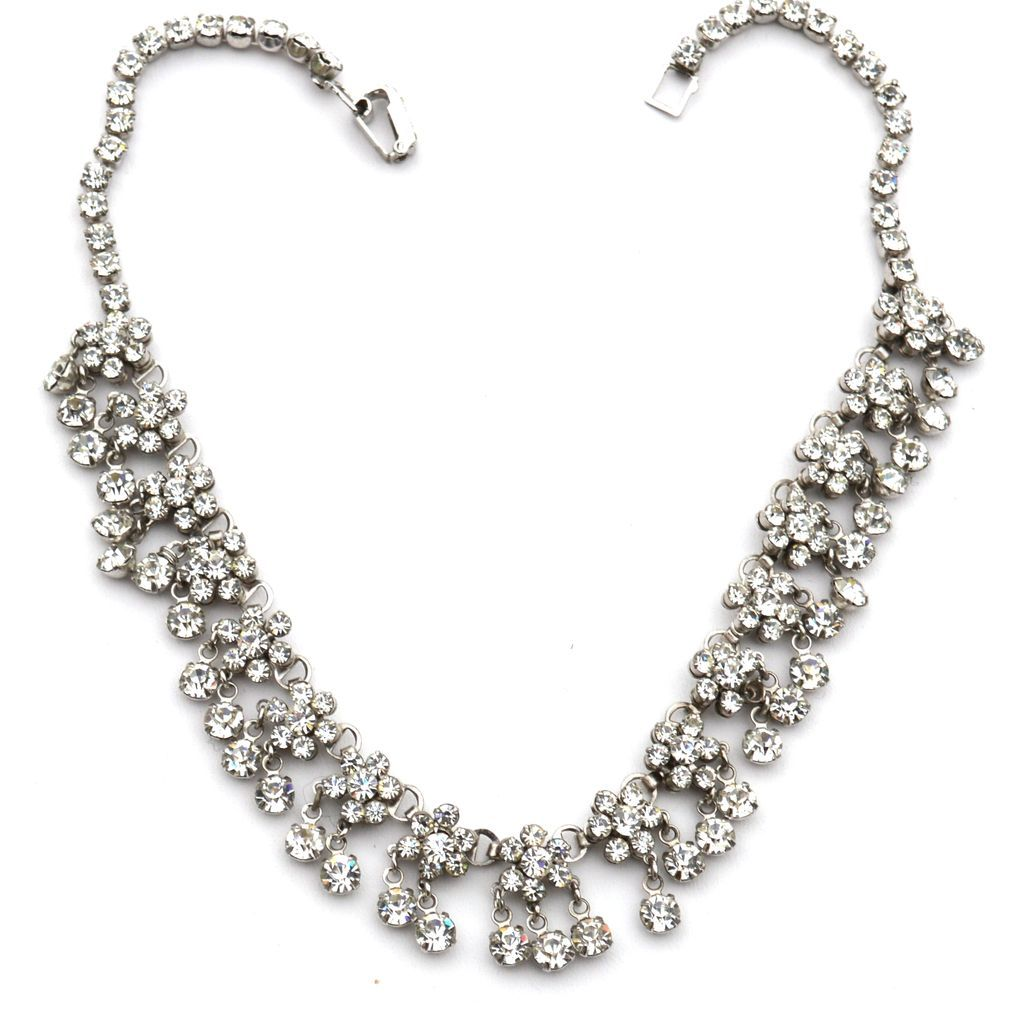Vintage Dangling Clear Rhinestone Flower Cluster Necklace