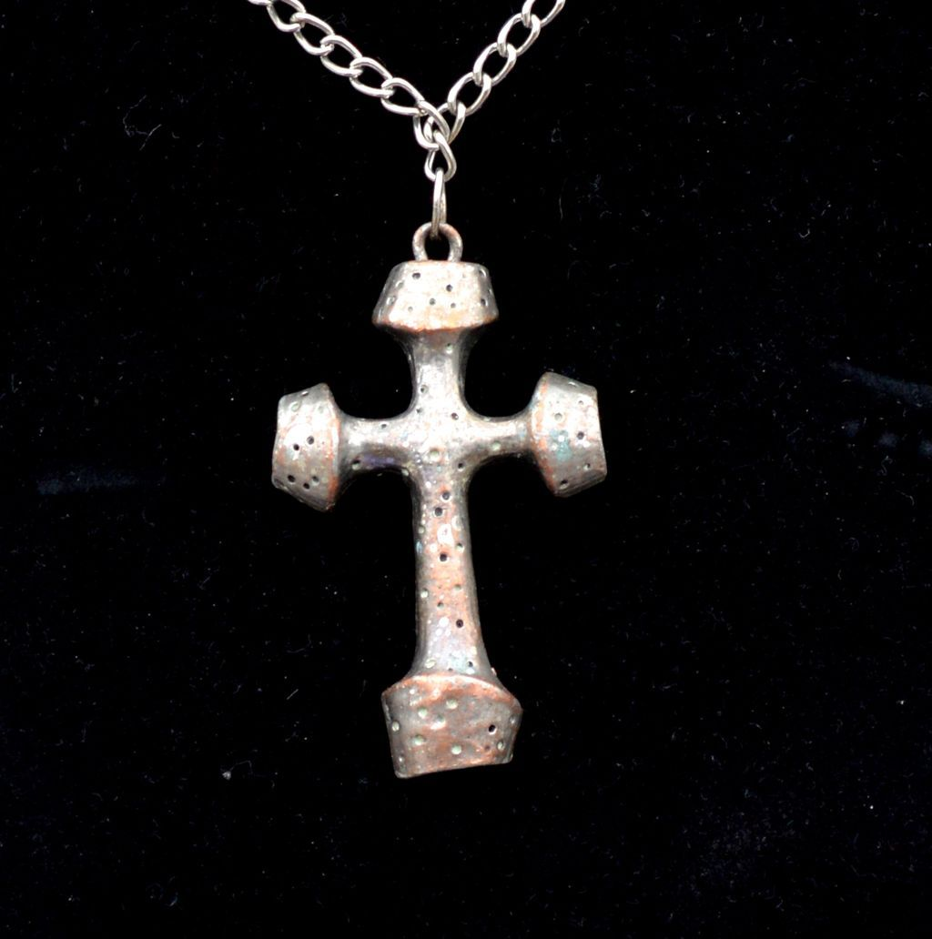 Vintage Signed LIND GAL Silver Tone over Brass Cross Necklace
