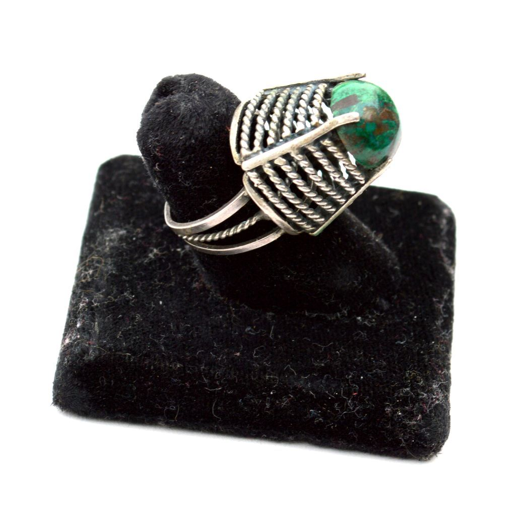 Hallmarked 925 Sterling Silver Conical Shaped Turquoise Ring