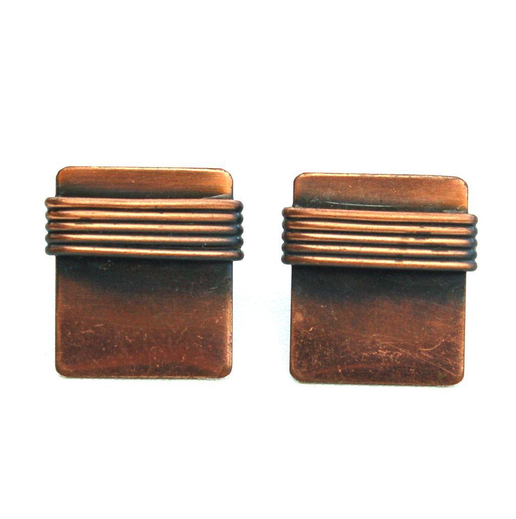Vintage Copper Screw Back Earrings, Wire Wrap