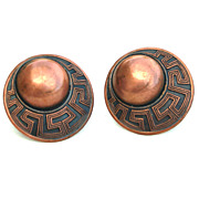 Vintage Copper Screw Back Earrings, Ornate Dimensional Circles