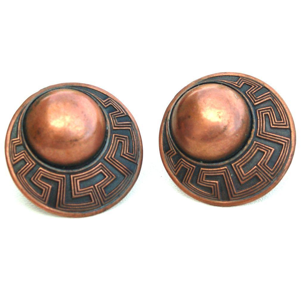 Vintage Copper Screw Back Earrings, Ornate Dimensional Circles