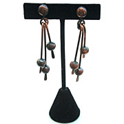 Vintage Copper Screw Back Earrings, Dangling Rods and Beads