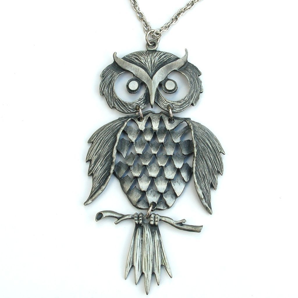 Vintage Signed GOLDN' THINGS Pewter Articulated Owl Pendant Necklace