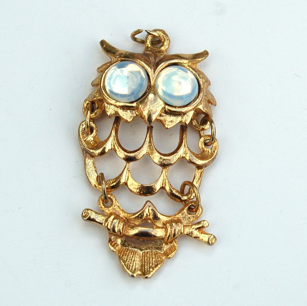Vintage Articulated Owl Pendant With Faux Moonstone Eyes