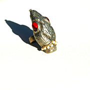 Huge Vintage Snake Head Ring, Red Glass Eyes Faux Pearls