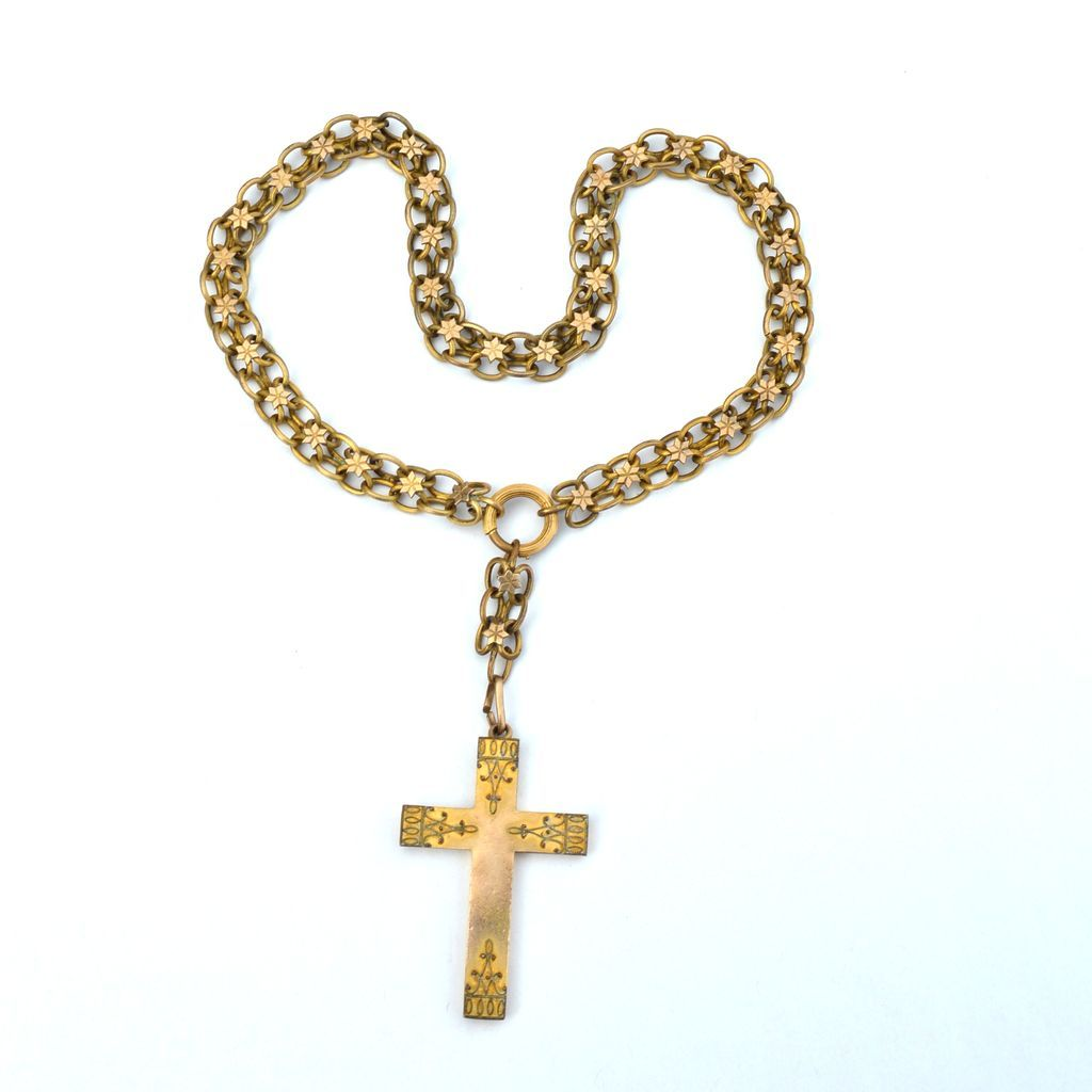 Victorian Era Gold Filled Cross Necklace Very Ornate And