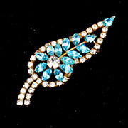 Vintage Teal Blue and Clear Rhinestone Pin