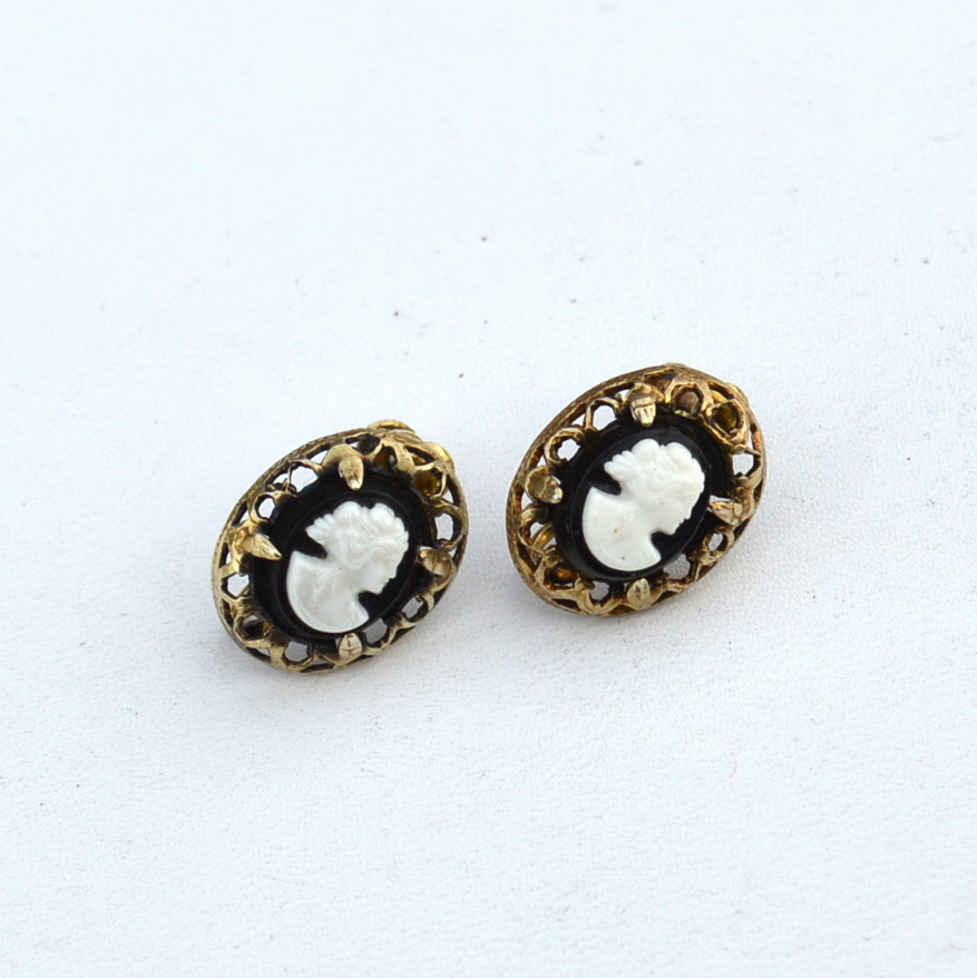 Early Hallmarked STERLING SILVER Ornate Metal Cameo Earrings