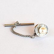 Vintage Hallmarked 10K White Gold Pearl Tie Clasp Pin Tack