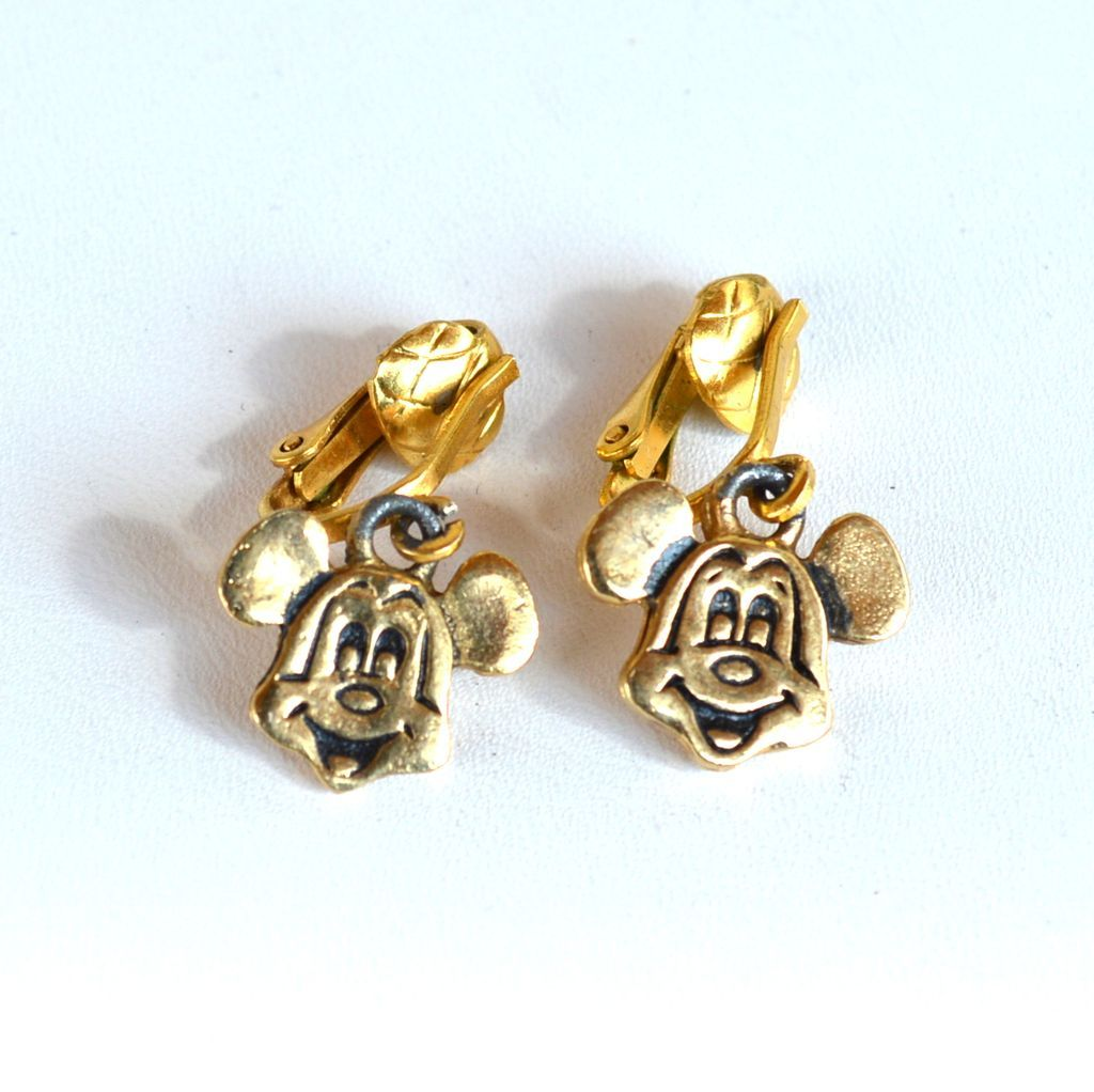 Vintage MICKEY MOUSE Clip on Earrings, Walt Disney Productions