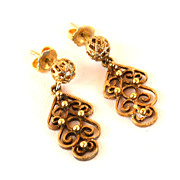 Vintage Hallmarked 12K Yellow Gold Filled Ornate Drop Earrings