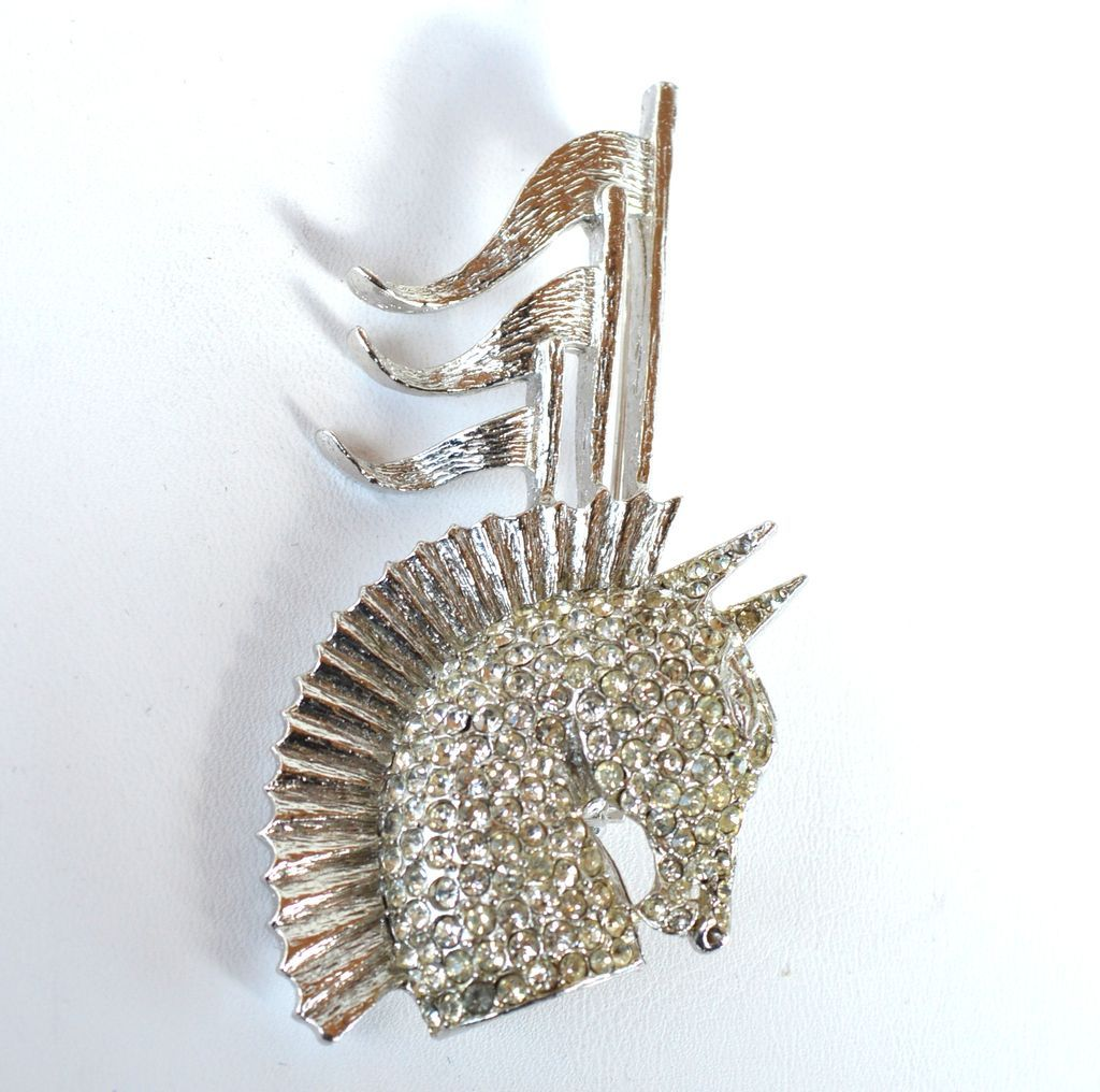 Vintage Signed TARA CENTURION Rhinestone Horse and Flag Pin
