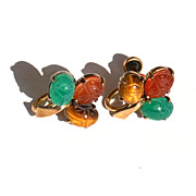 Vintage Hallmarked 14K Gold Filled Genuine Scarab Stone Earrings Over Sterling