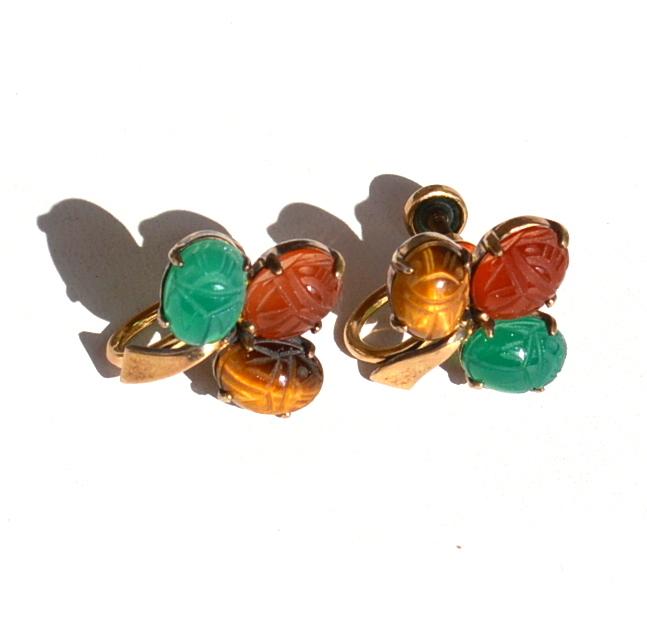 Vintage Hallmarked 14K Gold Filled Genuine Scarab Stone Earrings Over Sterling