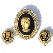 Vintage Black Glass CAMEO Demi, Pin Pendant Earrings