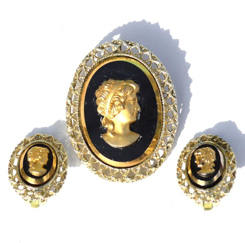 Vintage Black Glass CAMEO Demi, Pin Pendant Earrings