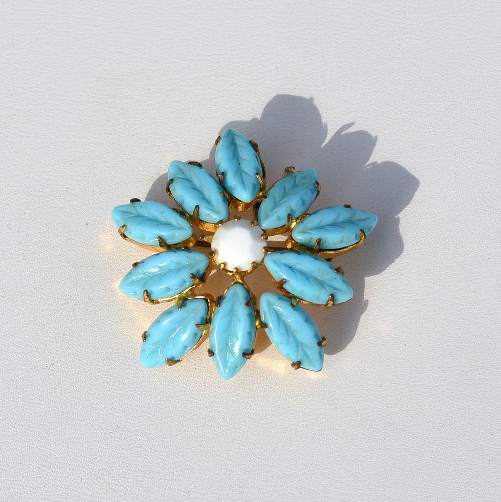 Vintage Molded Turquoise Blue Glass Leaf Rhinestone Pin