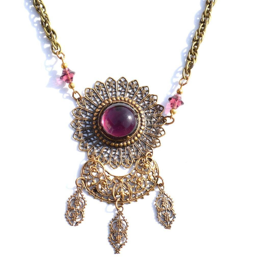 Vintage Purple Glass Rhinestone and Crystal Antiqued Gold Toned Filigree Metal Necklace