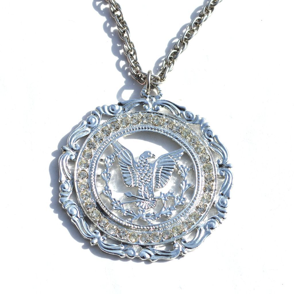 Vintage Signed ROYAL Rhinestone Encrusted Great Seal of the United States Pendant Necklace