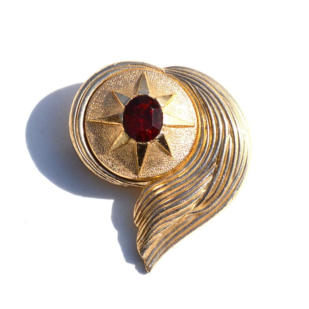 Vintage Signed PARIS FRANCE Red Glass Stone Pin, Trombone Clasp