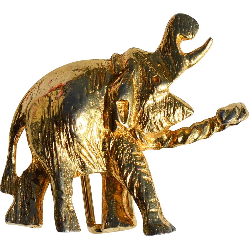 Vintage 1972 MIMI di N Gold toned Elephant Buckle