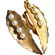 Vintage 12K Gold Filled And Pearl Clip Earrings