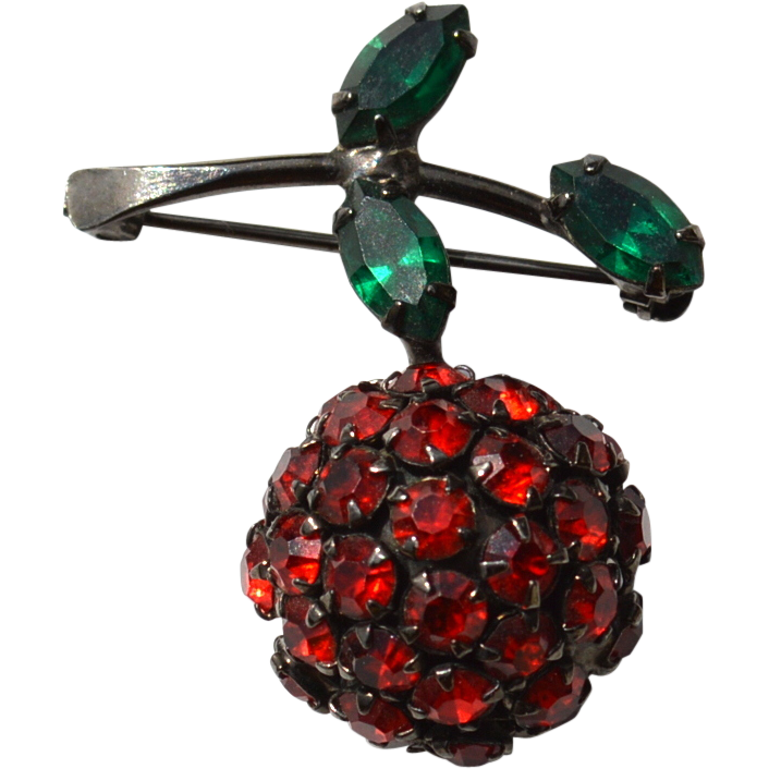 Vintage Signed WARNER Red Rhinestone Cherry Fruit Pin