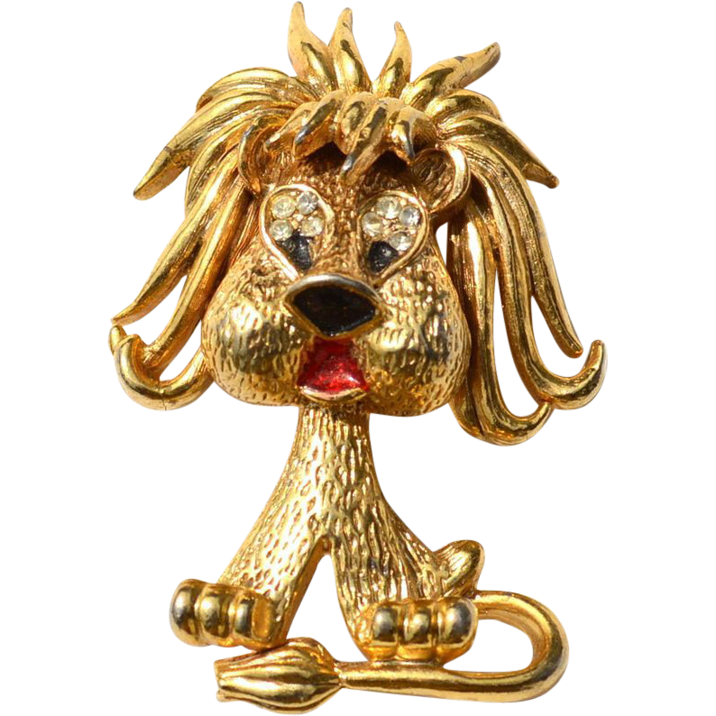 Vintage Signed JJ Lion With Rhinestone Enamel Eyes Pin