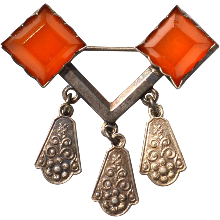 Russian Sterling Silver and Amber Dangling Pin 875