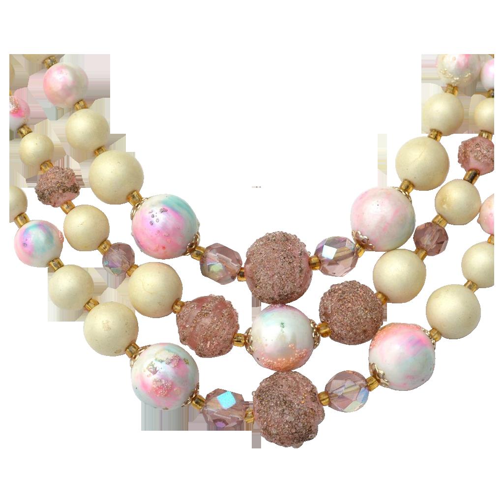Vintage 3 Strand Unique Tie Dye and Sugar Bead Necklace, Crystals