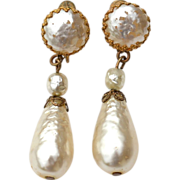 Vintage Signed MIRIAM HASKELL Faux Baroque Pearl Drop Earrings