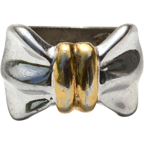 Vintage Hallmarked STERLING SILVER Wide Ribbon or Bow Ring