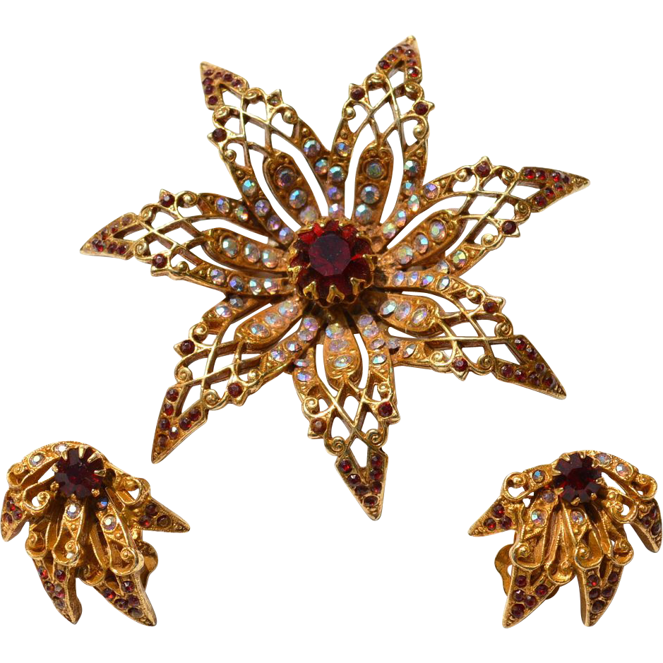 Vintage Signed ART Rhinestone Flower Demi, Pin and Earrings