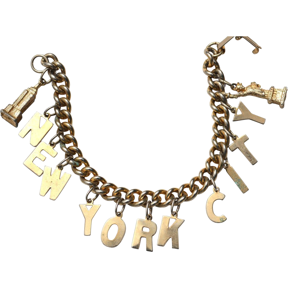 vintage new york city charm bracelet travel souvenir
