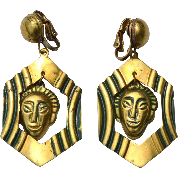 Vintage Brass Colored Ethnic Dangle Clip On Earrings