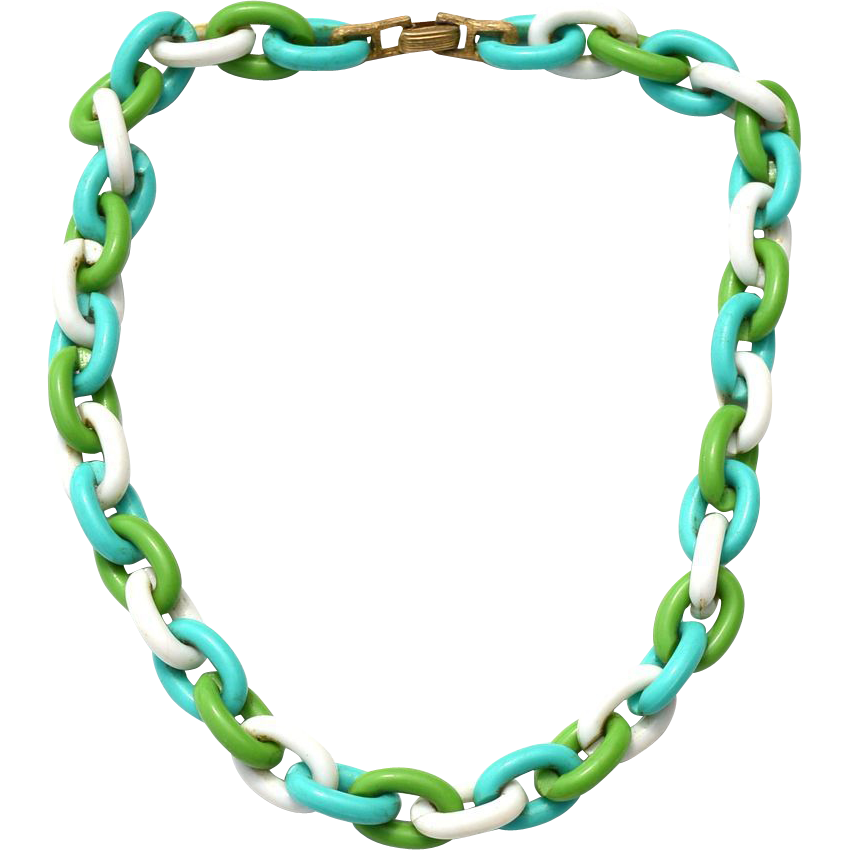 Vintage Signed CROWN TRIFARI Lucite Plastic Oversized Chain Link Necklace