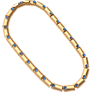 Vintage Signed CROWN TRIFARI Sapphire Blue Glass Cab Necklace