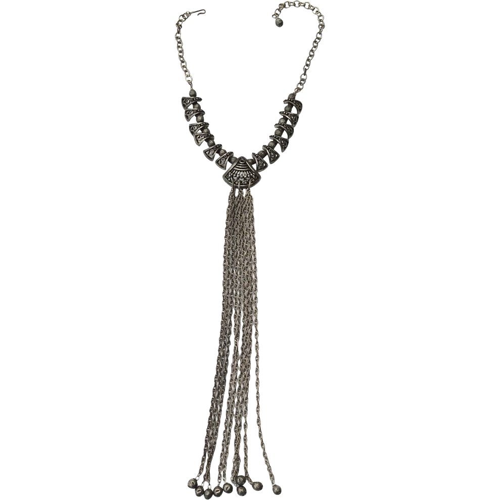 "Vintage Ornate Silver Tone Necklace, 11"" Tassel Drop"