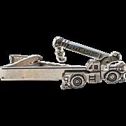 Vintage PETTIBONE Crane Truck Tie Clip Silver Tone