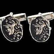 Vintage Ornate Roman Warrior Cuff Links Cufflinks