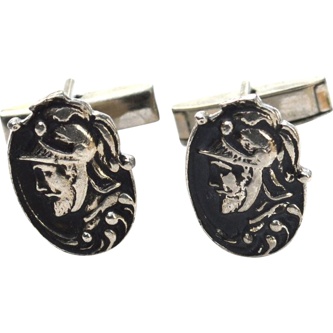 Vintage Ornate Roman Warrior Cuff Links Cufflinks