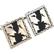 Vintage Happy Sad Faces ILLUSION Cuff Links Cufflinks