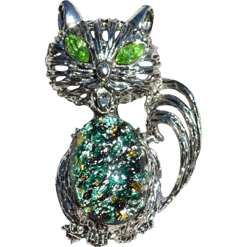 Vintage Cats Eye Glass Jelly Belly Rhinestone Cat Pin