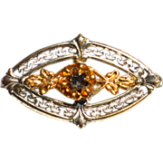 Victorian Era Filigree Pin, Two Toned Metal